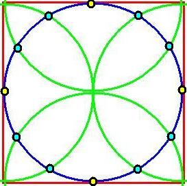 squared circle + 4 semi-circles + 12 dots reduced